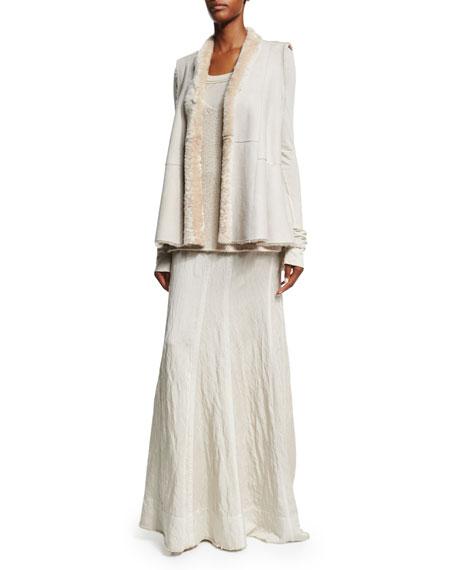 Donna Karan Long-Sleeve Round-Neck Top, Natural