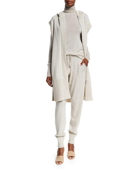 Donna Karan Hooded Zip-Front Long Vest, Natural