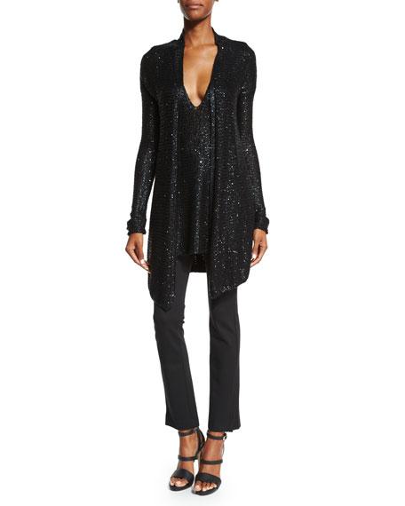 Donna Karan Long-Sleeve Draped-Front Cardigan, Black