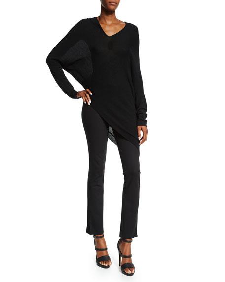 Donna Karan V-Neck Asymmetric Cashmere Sweater, Black