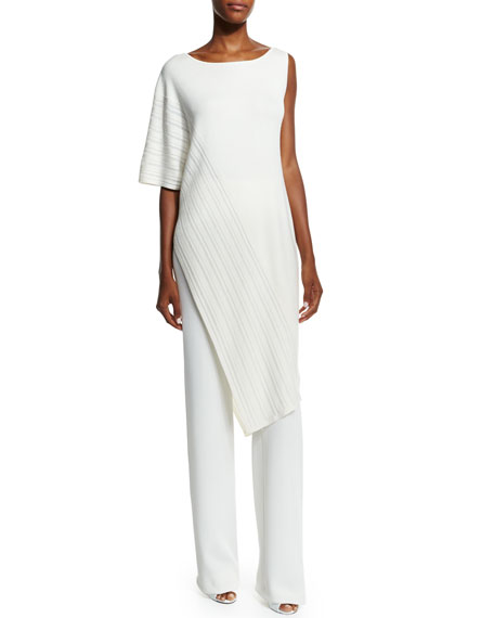 Donna Karan Dropped Needle Asymmetric Tunic, Ivory