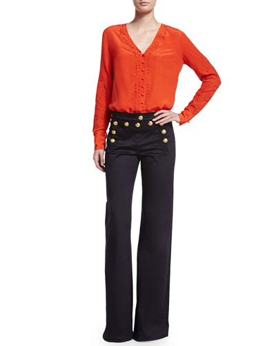 Embroidered Long-Sleeve Top & Wide-Leg Sailor Pants