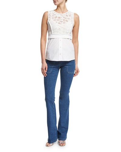 Lace Shirting Combo Top & Patch Pocket Denim Flare Jeans