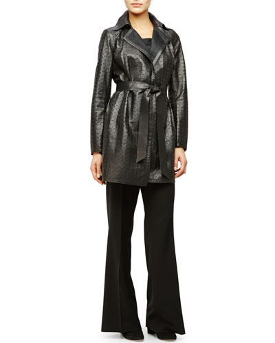 Jeanette Laser-Cut Leather Coat, Charmeuse Silk Bias Tank & Beekman Wide-Leg Pants