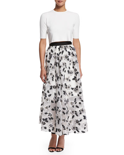 Short-Sleeve Button-Back Crop Top & Stamped-Floral Full Midi Skirt