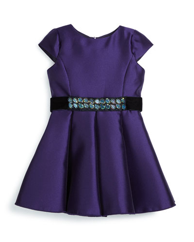 Cap-Sleeve Belted Satin Swing Dress, Purple