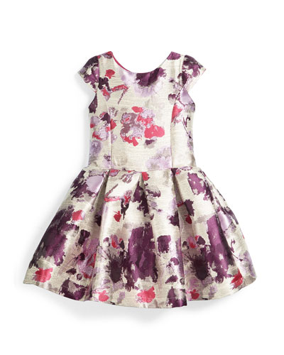 Cap-Sleeve Floral Brocade Dress, Silver/Purple