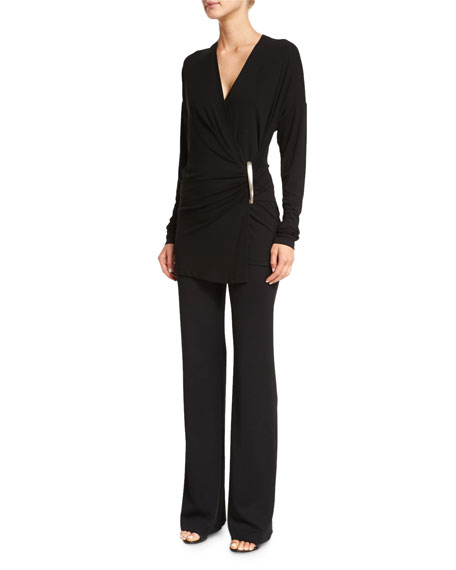 Donna KaranLong-Sleeve Wrap Top, Black