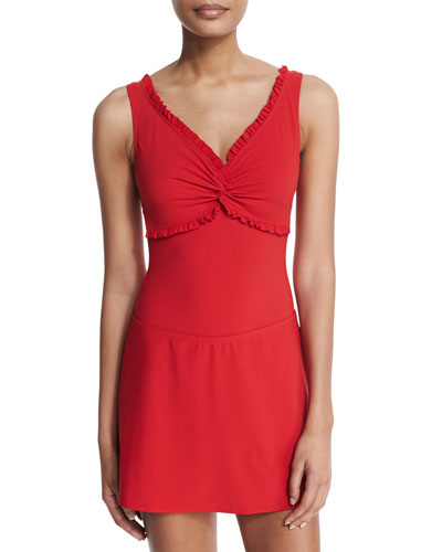 Ruffled Twist-Front One-Piece Swimsuit & Swim Skirt, Cherry