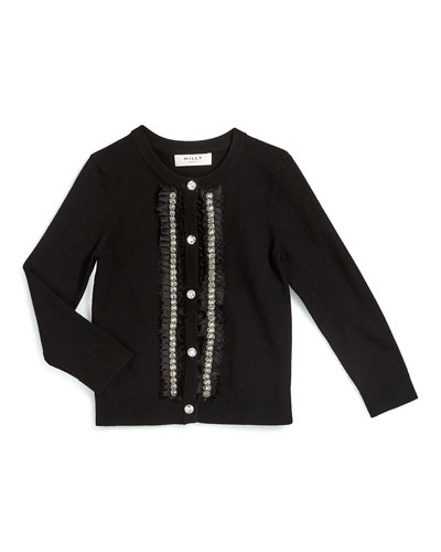 Embellished Button-Front Cardigan, Black