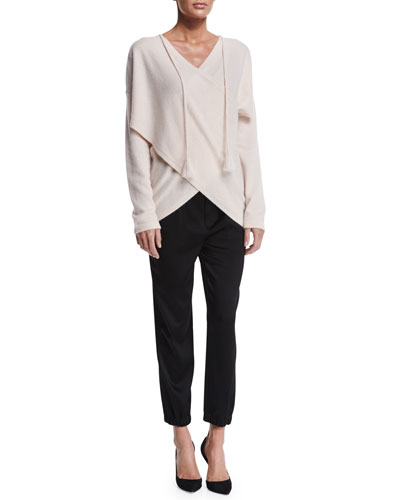Surplice Cashmere Sweater & Crepe Drawstring Track Pants