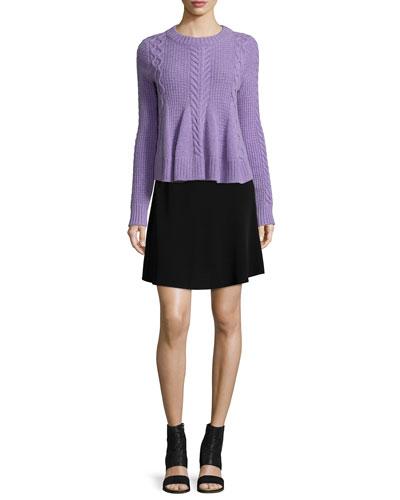 Swing Long-Sleeve Pullover Sweater & Brenda A-Line Skirt
