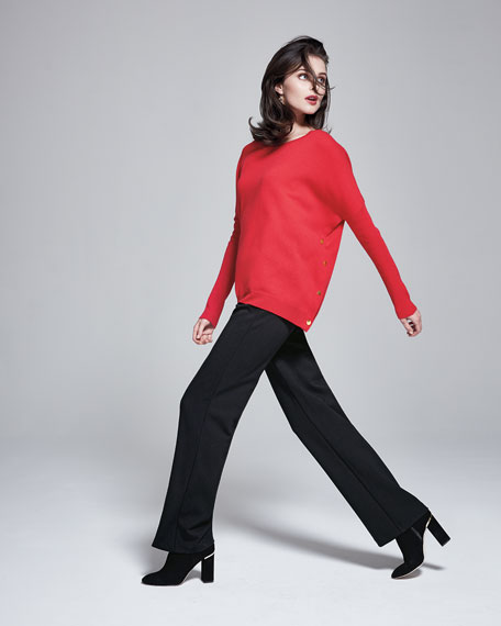 Joan Vass Long-Sleeve Wool-Cashmere Tunic, Plus Size