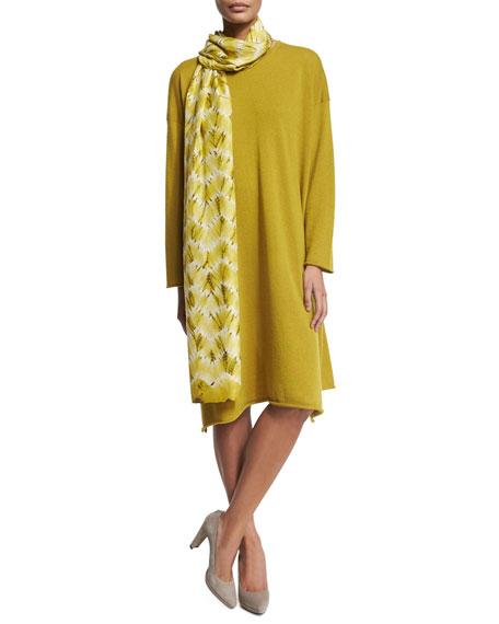 eskandar Round-Neck Cashmere Dress, Dark Olive Oil