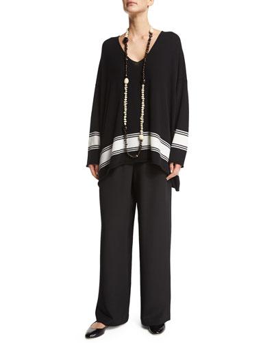 eskandar V-Neck Striped Cashmere Sweater, Single-Strand Beaded