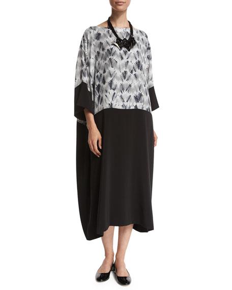 eskandar Zigzag Contrast-Panel Dress, Gray/Silver