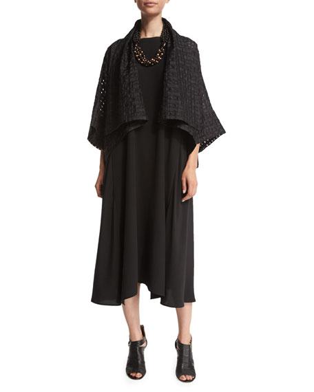 eskandarSleeveless Bateau-Neck A-Line Dress, Black