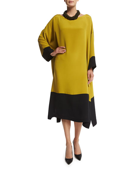 eskandar Bateau-Neck Colorblock Tunic Dress, Black/Dark Olive Oil