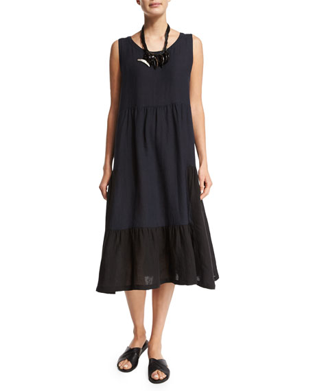 eskandar Sleeveless Colorblock Tiered Linen Dress, Black/Navy
