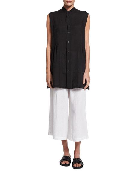 eskandar Sleeveless Button-Front Long Top, Black