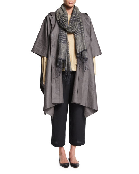 eskandar Hooded Button-Front Raincoat Poncho, Elephant