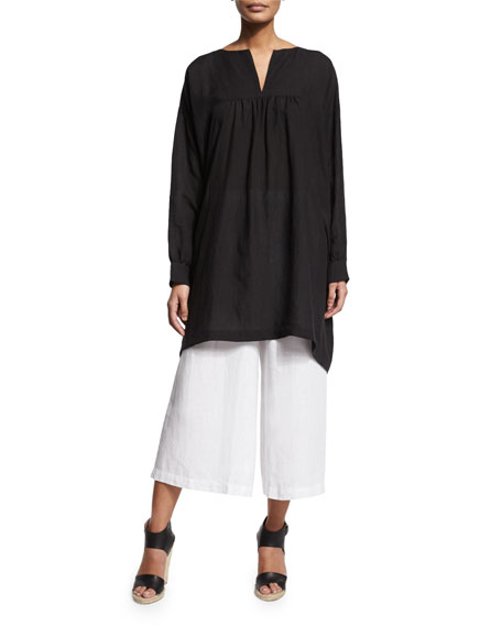 eskandar Long-Sleeve Peasant Smock Top, Black