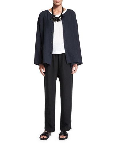 eskandar Long-Sleeve Button-Front Jacket, Sleeveless Round-Neck