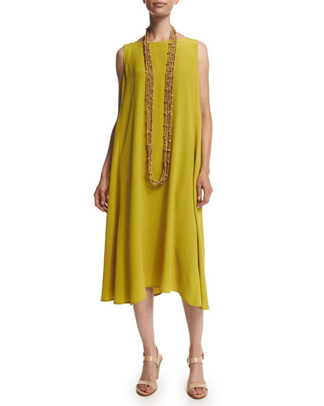 eskandar Sleeveless Bateau-Neck Dress, Dark Olive Oil