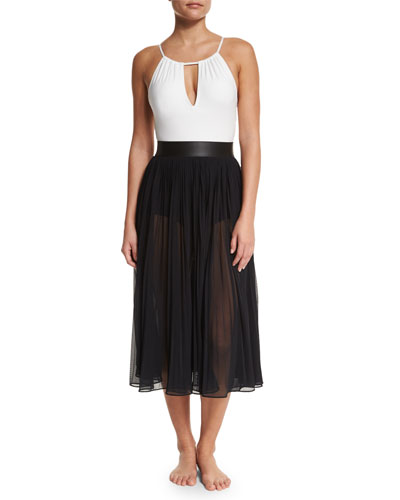Elizabeth High-Neck One-Piece Swimsuit & Sundance Pleated Chiffon Coverup Skirt