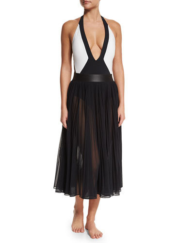 Jane Plunge-Neck One-Piece Swimsuit & Sundance Pleated Chiffon Coverup Skirt