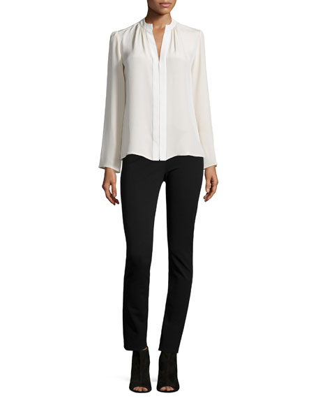 Long-Sleeve Slim-Fit Blouse, Muslin/Ivory