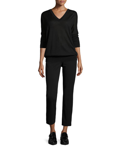 3/4-Sleeve V-Neck Sweater & Drake Slim-Leg Cropped Pants, Black