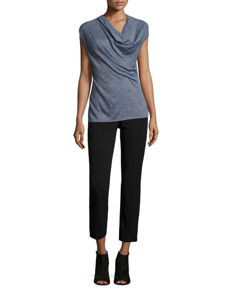 Derek Lam Cap-Sleeve Draped-Front Sweater, Gray