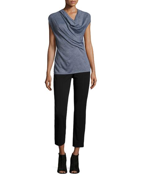 Derek Lam Cap-Sleeve Draped-Front Sweater, Gray