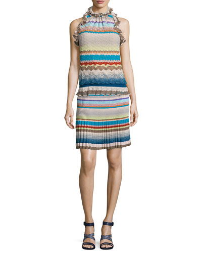Ruffled Halter-Neck Top & Multi-Stripe Drop-Waist Skirt