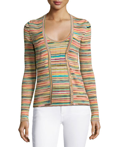 Multi-Striped Ribbed Cardigan & Scoop-Neck Multi-Striped Ribbed Top