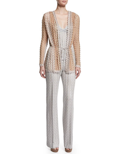 Scalloped-Lace Cardigan, Crisscross V-Neck Tank Top & High-Waist Flare-Leg Pants