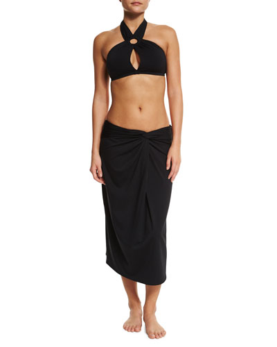 Solid Two-Piece Swimsuit & Front-Twist Coverup Skirt