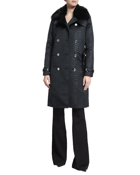 MICHAEL Michael Kors Alligator-Embossed Trench Coat with Fur