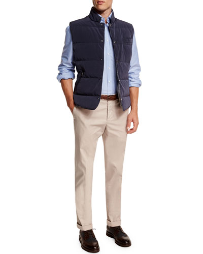 Quilted Snap-Button Vest, Oxford Button-Down Sport Shirt & Flat-Front Cotton Pants