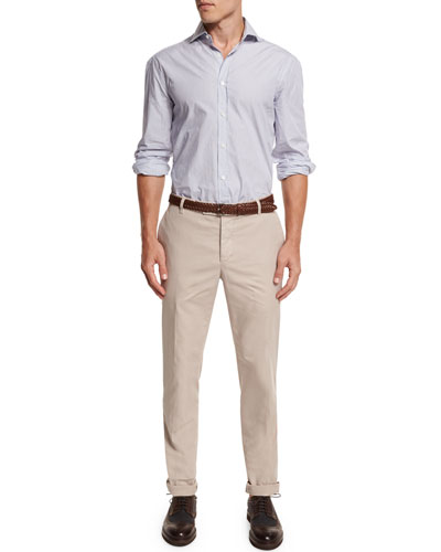 Mini-Stripe Button-Down Sport Shirt & Flat-Front Cotton Pants