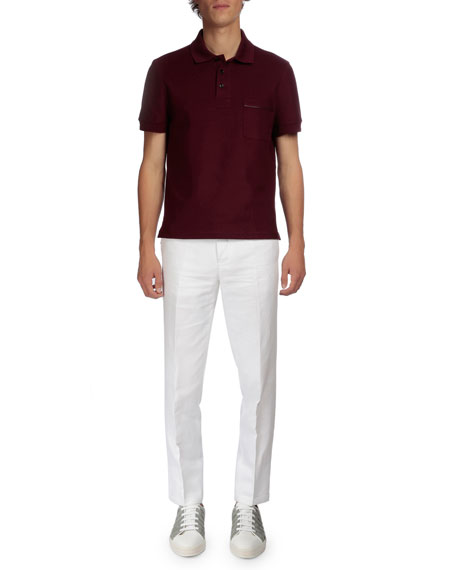 Berluti Linen-Blend Flat-Front Trousers, White