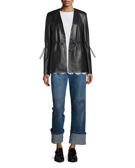 Christopher Kane Drawstring-Waist Leather Blazer, Black
