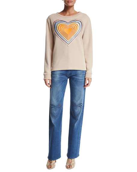 Christopher Kane Embroidered Rainbow Heart Sweatshirt, Nude