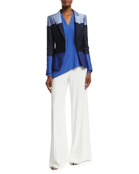 Escada One-Button Colorblock Jacket, Heather Blue