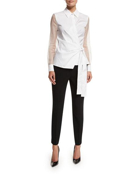 Escada Sheer-Sleeve Wrap Blouse, White
