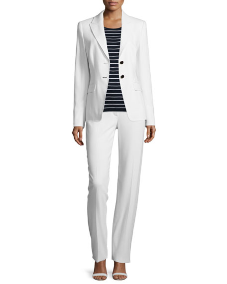Escada Long-Sleeve Two-Button Blazer, Off White
