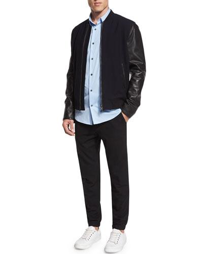 Vince City Varsity Leather Bomber Jacket, Stretch Poplin