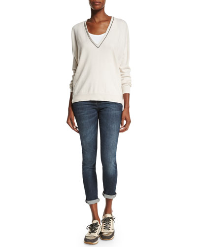 Monili-Trim V-Neck Cashmere Sweater & Mid-Rise Exposed-Fly Cropped Jeans