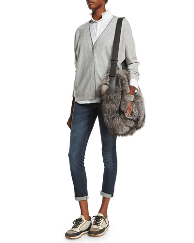 Monili-Trim Cashmere Cardigan, Shirt & Mid-Rise Exposed-Fly Cropped Jeans